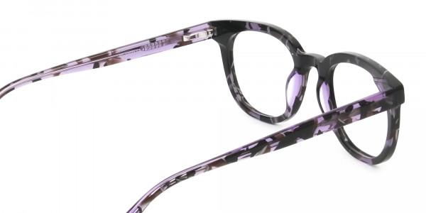 Hipster Thick Frame Tortoise Pastel Purple Glasses For Women - 5