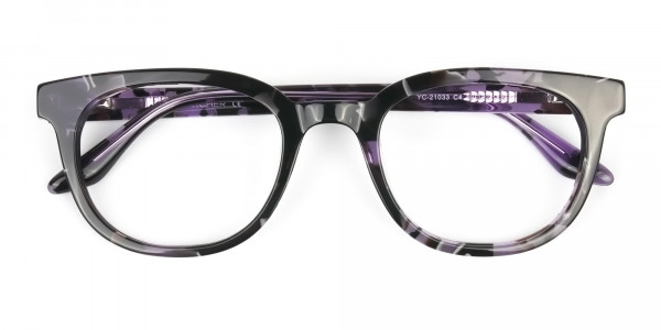 Hipster Thick Frame Tortoise Pastel Purple Glasses For Women - 7