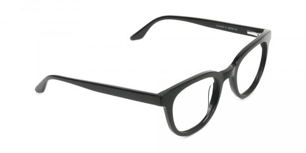 Black Vintage Horn Glasses in Wayfarer - 2