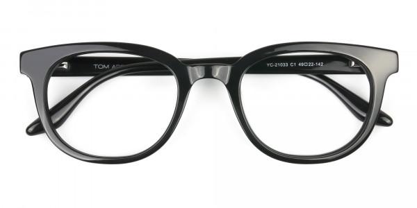 Black Vintage Horn Glasses in Wayfarer - 6
