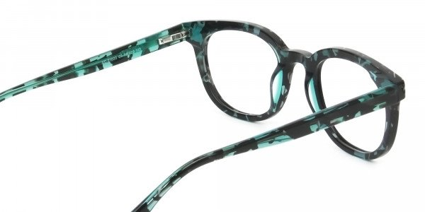 Hipster Tortoise Turquoise Green Wayfarer Frame Glasses - 5