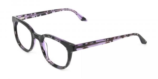 Hipster Thick Frame Tortoise Pastel Purple Glasses For Women - 3