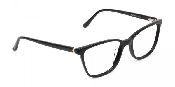 Women Nerd Black Acetate Spectacles in Rectangular - 2