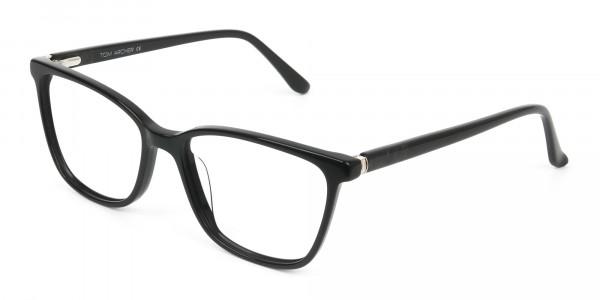Women Nerd Black Acetate Spectacles in Rectangular - 3