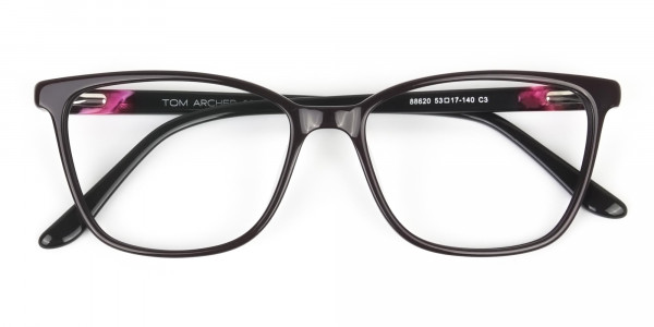 Acetate Dark Violet Spectacles in Rectangular - 6
