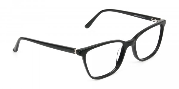 Women Nerd Black Acetate Spectacles in Rectangular - 2