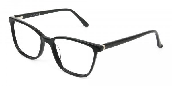 Women Nerd Black Acetate Spectacles in Rectangular - 3