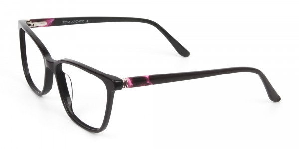 Acetate Dark Violet Spectacles in Rectangular - 3