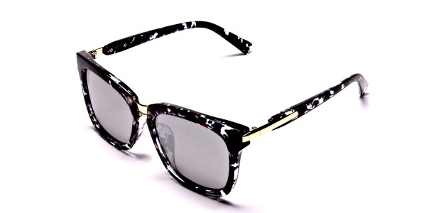 Black and White Oversized Wayfarer Sunglasses - 2