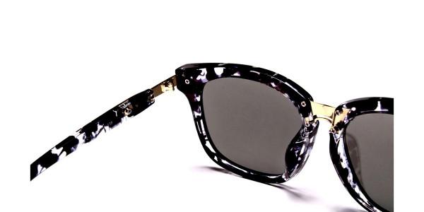Black and White Oversized Wayfarer Sunglasses - 4
