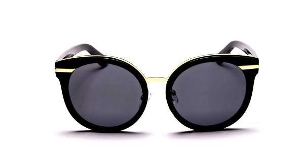 Black & Gold Round Glasses