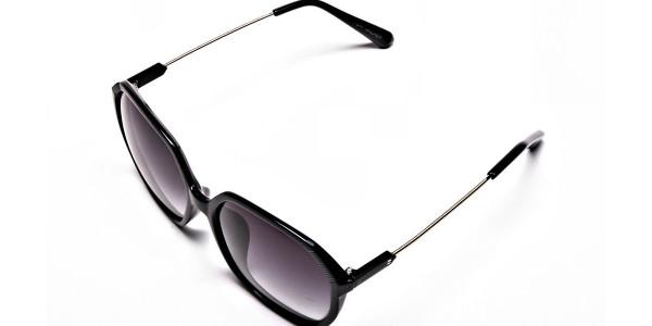 Black Hexagonal sunglasses with Grey Tint