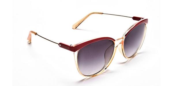 Red & Gold Browline Super Glam Sunglasses - 1