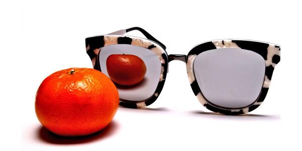 Women's Black and White Mirrored Sunglasses - 5