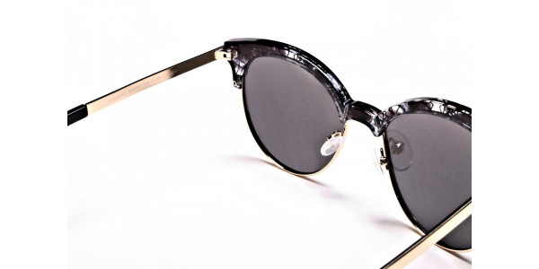 Gold & Silver-Grey Marbled Bowline Sunglasses -4