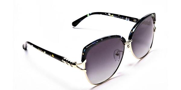 Emerald & Gold Oversized Sunglasses - 1