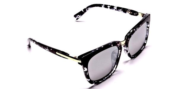 Black and White Oversized Wayfarer Sunglasses - 1
