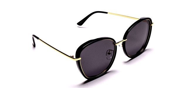 Black and Gold Oversized Sunglasses - 1