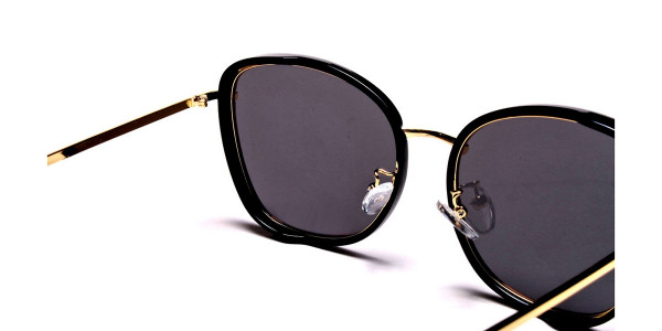 Black and Gold Oversized Sunglasses - 4