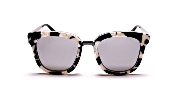 Women's Black and White Mirrored Sunglasses