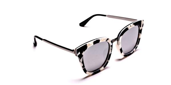 Women's Black and White Mirrored Sunglasses - 1