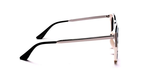 Women's Black and White Mirrored Sunglasses - 3