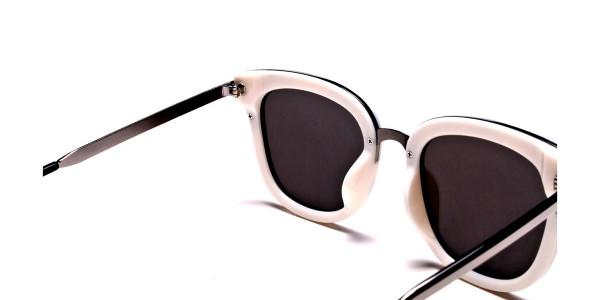 Women's Black and White Mirrored Sunglasses - 4