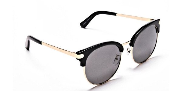 Gold Browline Sunglasses, Gold Eyeglasses - 1