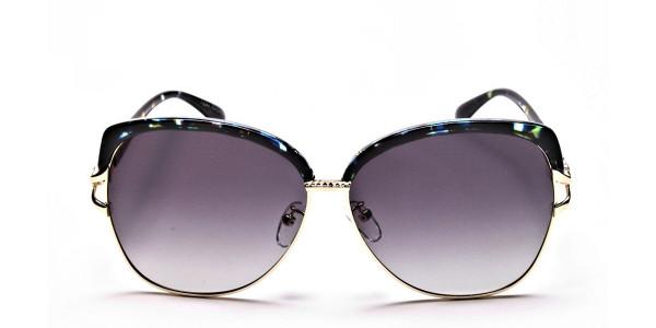 Emerald & Gold Oversized Sunglasses