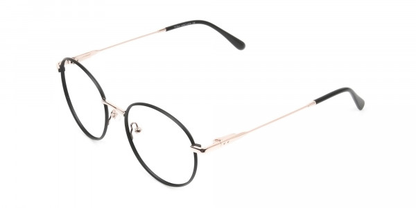 Black and Gold Round Wire Glasses Frames Men Women- 3
