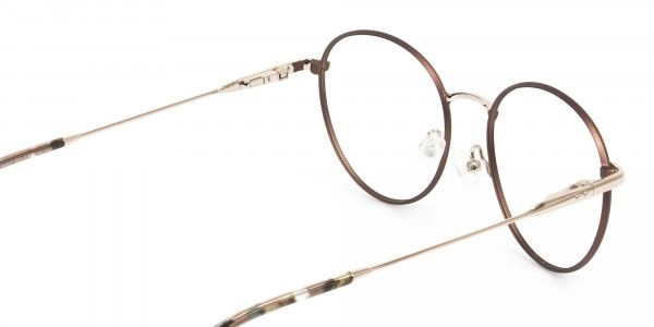 Circular Wire Frame Glasses Gold & Brown Men Women - 5