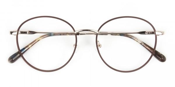 Circular Wire Frame Glasses Gold & Brown Men Women - 6