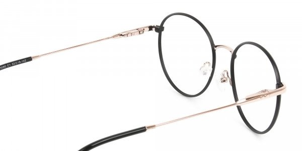 Black and Gold Round Wire Glasses Frames Men Women - 5