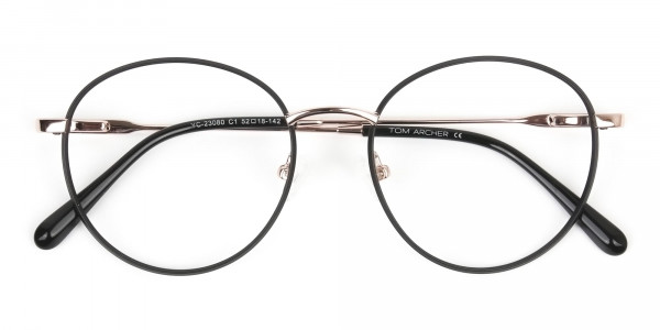 Black and Gold Round Wire Glasses Frames Men Women - 6