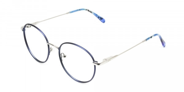 Silver Navy Blue Circle Wire Frame Glasses - 3