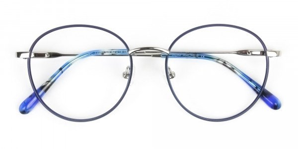 Silver Navy Blue Circle Wire Frame Glasses - 6
