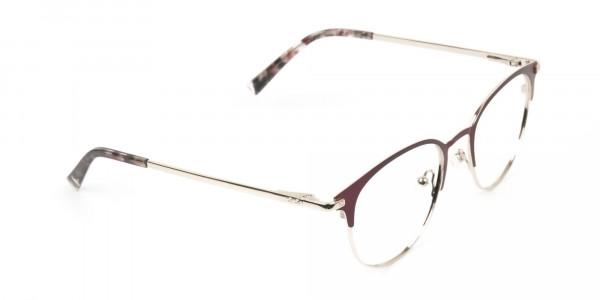 Keyhole Burgundy Browline Glasses in Round Men Women  - 2