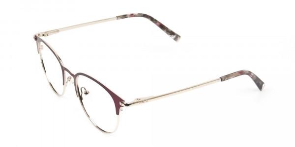 Keyhole Burgundy Browline Glasses in Round Men Women  - 3