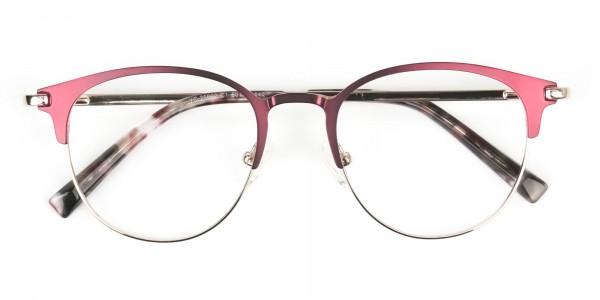 Keyhole Burgundy Browline Glasses in Round Men Women  - 6