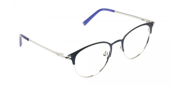 Keyhole Silver Navy Blue Browline Glasses in Round - 2