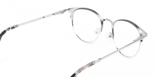 Silver & Black Keyhole Browline Glasses in Round - 5