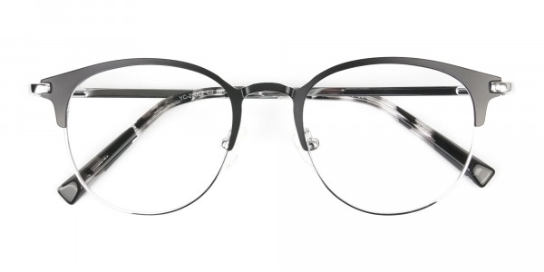 Silver & Black Keyhole Browline Glasses in Round - 6