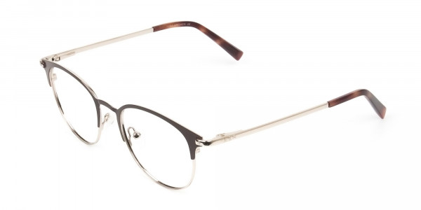 Brown & Gold Keyhole Browline Glasses in Round - 3