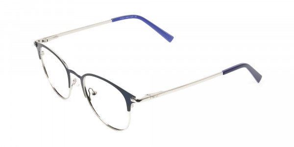 Keyhole Silver Navy Blue Browline Glasses in Round - 3