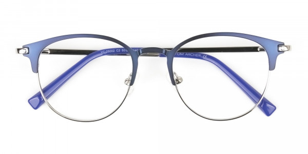 Keyhole Silver Navy Blue Browline Glasses in Round - 6