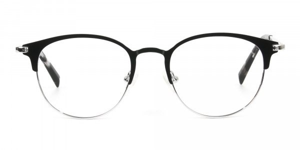 Silver & Black Keyhole Browline Glasses in Round - 1