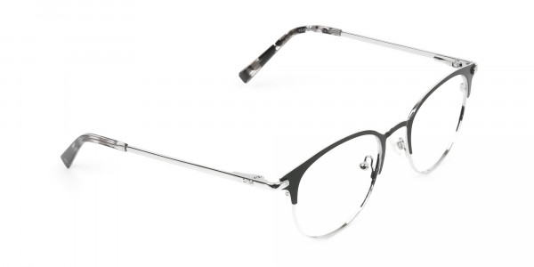 Silver & Black Keyhole Browline Glasses in Round - 2