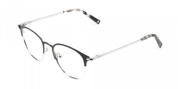 Silver & Black Keyhole Browline Glasses in Round - 3