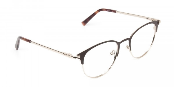 Brown & Gold Keyhole Browline Glasses in Round - 2