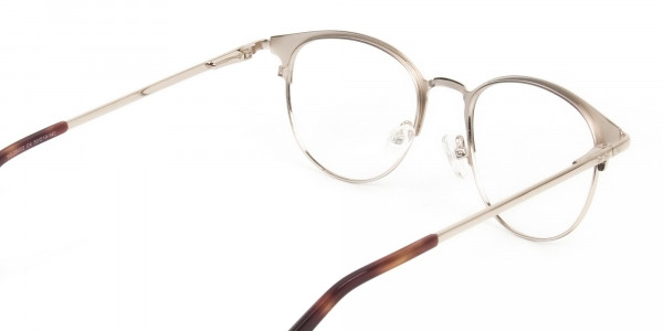 Brown & Gold Keyhole Browline Glasses in Round - 5
